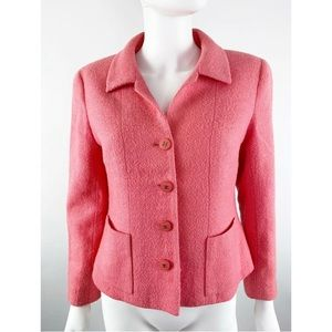 Vintage Authentic CHANEL Pink Boucle Wool Jacket